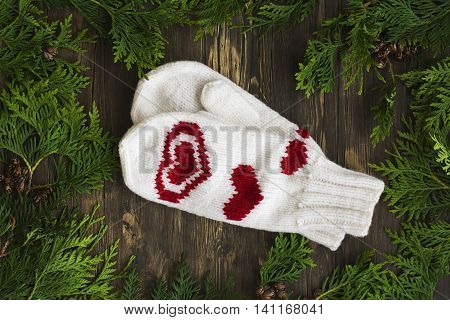 Knitted mittens and cedar branches over wooden background. Top view