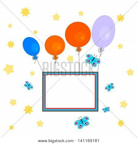 Greeting Card - congratulation - a stylized sky full of stars, with colorful balloons that carry a blank sign.