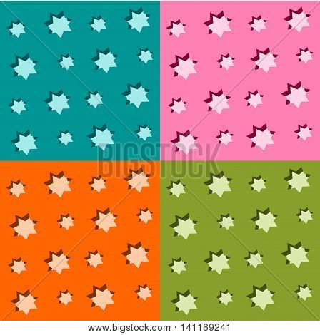 Set of seamless starry backgrounds - four monochrome patterns with pruned stars - or usable as colorful checkered design