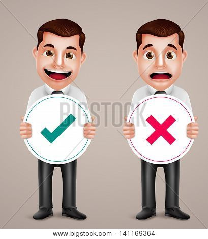 Professional business man vector character set holding right and wrong sign with happy and sad facial expressions. Vector illustration.