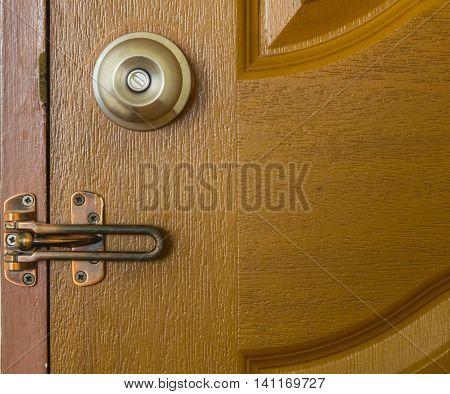 Door Knob and latch on Wood Door