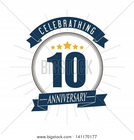 Celebrating Anniversary concept represented by 10 year number icon over seal stamp with ribbon. Colorfull and flat illustration.