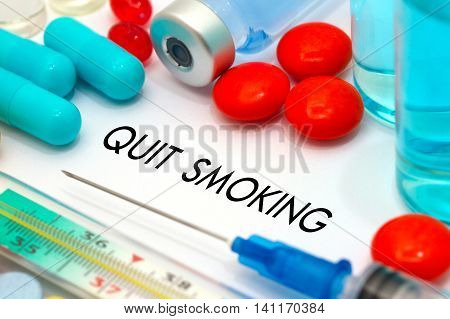 Quit smoking. Treatment and prevention of disease. Syringe and vaccine. Medical concept. Selective focus