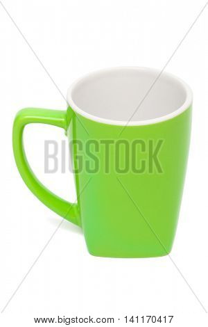 empty green mug on a white background