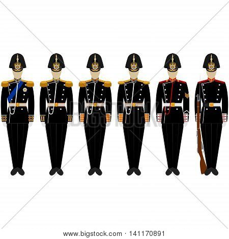 Fancy Dress Uniform Admiralty Battalion. The illustration on a white background.