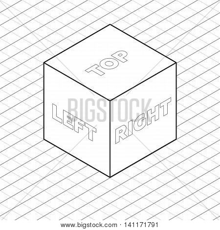 Cube sides isometric grid vector illustration grayscale