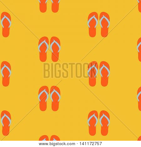 Slippers, seamless pattern on yellow background. Beach slippers summer symbol. Beach slippers for traveling design.