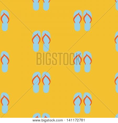 Slippers, seamless pattern on yellow background. Beach slippers summer symbol. Beach slippers for traveling design.  vector