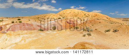 Landscape Makhtesh Gadol or Large Crater, nature reserve in Negev desert, Israel