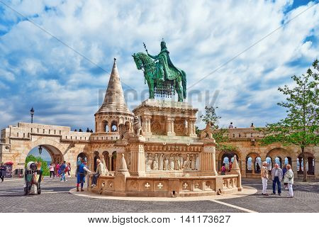 Budapest, Hungary-may 03, 2016: View On The Old Fisherman Bastion In Budapest. Statue Saint Istvan A