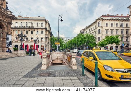Budapest, Hungary-may 02, 2016: Entrance To Metro Station In Budapest. Yellow (1 Line) It Is The Old