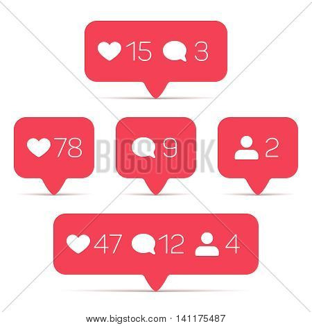 Like, follower, comment vector icons set. Template of counter with info for social networking. Illustration of web counter