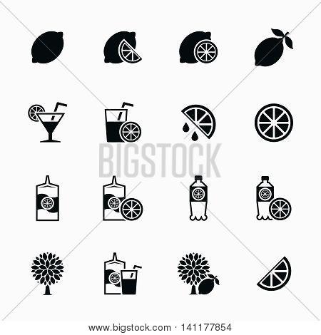 Lemon and lime vector icons set. Lemonade and fresh citrus juice. Vitamin natural food