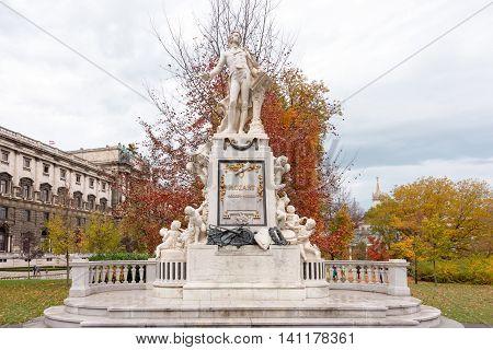 Wolfgang Amadeus Mozart statue in Vienna Austria