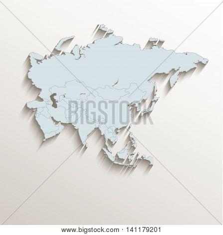 Asia political map white blue 3D raster