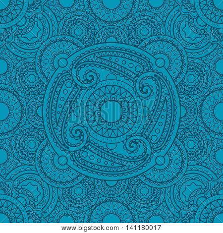 Mystical blue pattern with mandalas for yoga studio design. Vector illustration
