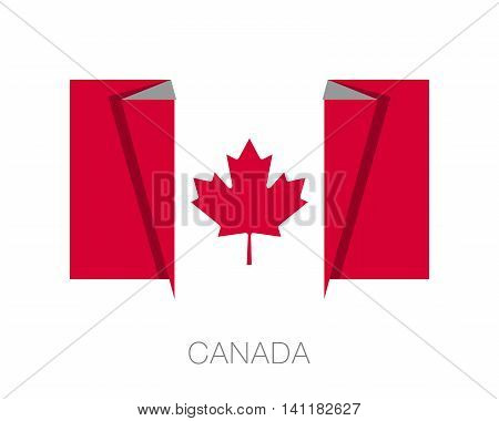 Flag Of Canada. Flat Icon Wavering Flag With Country Name