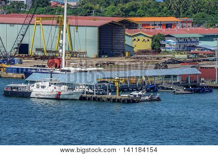 Labuan,Malaysia-Aug 4,2016:Malaysian Maritime Enforcement Agency MMEA,Island-class patrol boat docked on 4th Aug 2016 at Labuan Federal Territory,Malaysia.