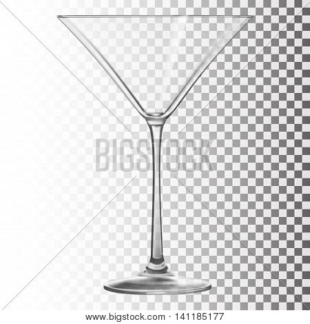 Glass goblet for martini cocktails vector illustration. Transparent objects.