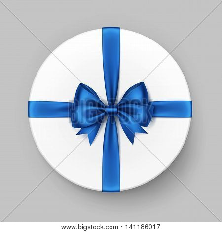 Vector White Round Gift Box with Shiny Blue Satin Bow and Ribbon Top View Close up Isolated on Background