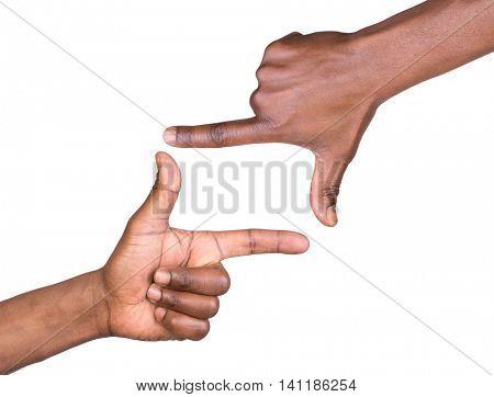 Hand frame isolated on white background