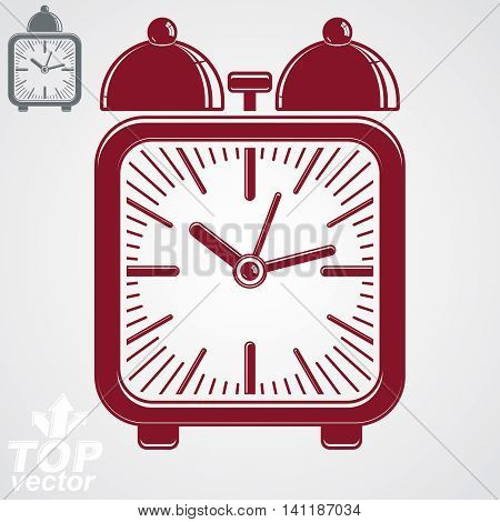Vector squared 3d alarm clock with two symmetric bells decorative wake up conceptual icon.