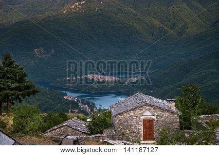 Garfagnana Tuscany Italy - Vagli di Sotto village on Lago di Vagli Vagli lake view from Campacatino village