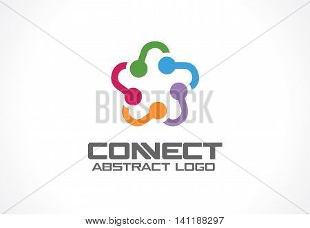 Abstract business company logo. Corporate identity design element. Social media, internet, people connect logotype idea. Star group, network integrate, technology interaction concept. Vector icon poster