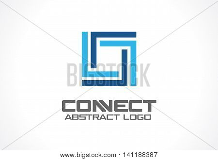 Abstract logo for business company. Corporate identity design element. Industry, finance, bank logotype idea. Square group, network integrate, technology interaction concept. Color Vector connect icon poster