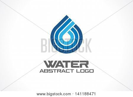 Abstract logo for business company. Corporate identity design element. Eco ocean, nature, spa, aqua Logotype idea. Water drop and wave, blue sea, fresh liquid concept. Colorful Vector line icon