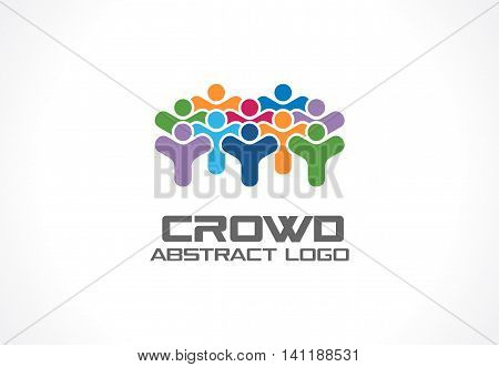 Abstract logo for business company. Corporate identity design element. Crowd, society, subscribers, followers and fan Logotype idea. People group, Network, Social Media concept. Colorful Vector icon