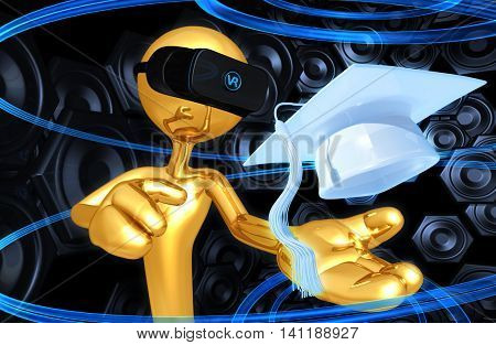 Virtual Reality VR Mortarboard Cap 3D Illustration