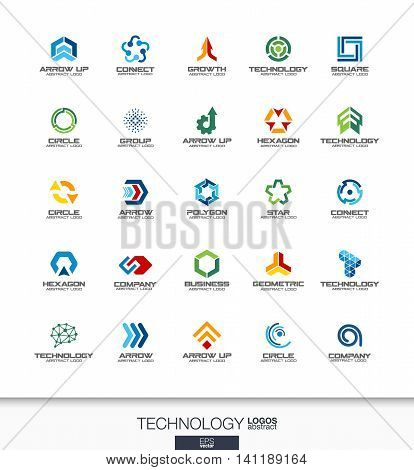 Abstract logo set for business company. Corporate identity design elements. Technology, social media, internet and network concepts. Digital connect logotype collection. Colorful Vector icons