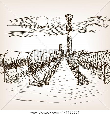Solar mirror power plant sketch style vector illustration. Old hand drawn engraving imitation.