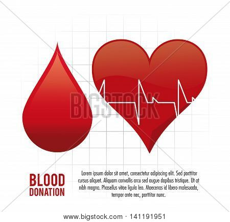 drop heart pulse cardio blood donation icon. Colorfull and flat illustration. Vector graphic