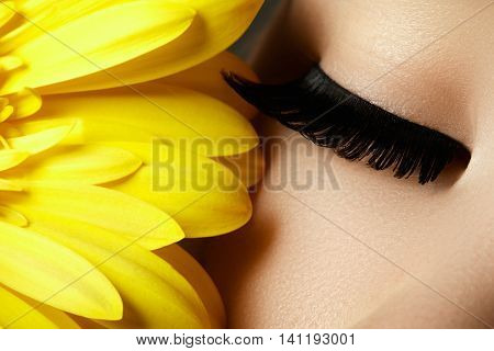 Beautiful Face Makeup. Extremal Long Eyelashes. Perfect Make-up