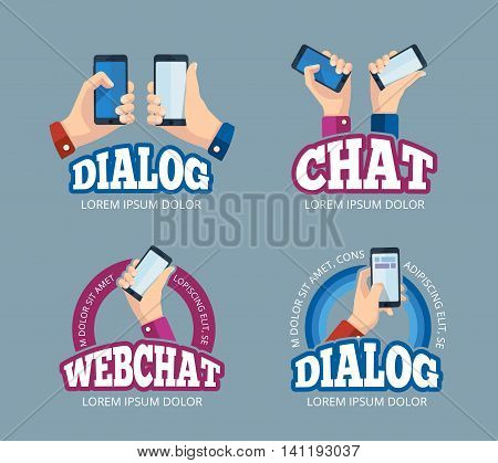 vector pictures set of logo with hands holding smartphone. Emblem design of web chatting. Pictures with place for your personal design on the screen. Isolate on dark background