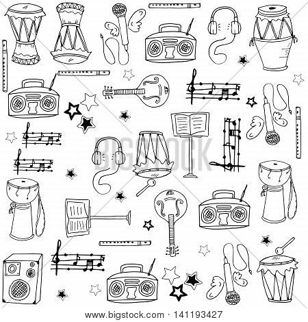 Collection stock music doodles pack vector illustration