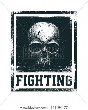 Black and white human skull. Hand drawn. T-shirt design.  vector illustration