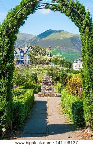 Archway in ornamental gardens Keswick Gardens Keswick Cumbria