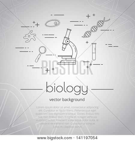Vector illustration of school subject - biology. Science and educational background. Grey color