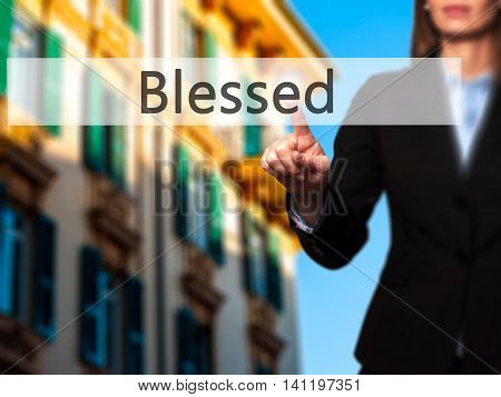 Blessed -  Young Girl Working With Virtual Screen An Touching Button.