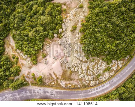 Mushroom Rocks Phenomenon Aerial View