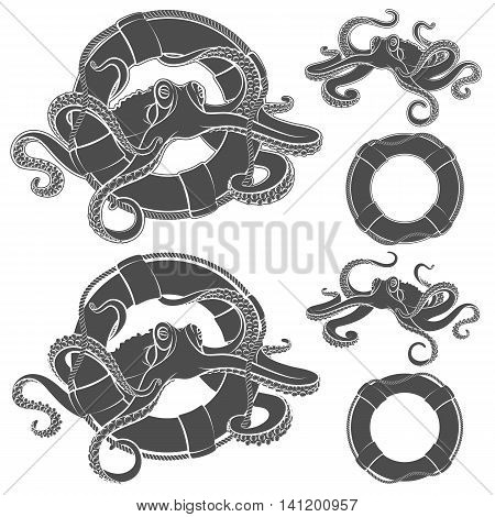 Set of illustrations with octopus in a life buoy. Vector isolated objects on a white background.