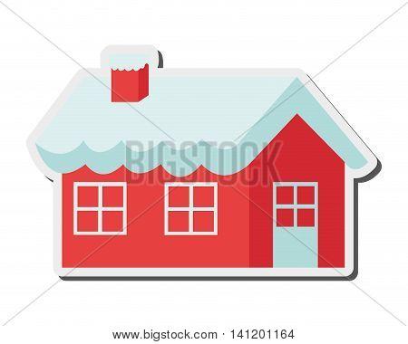 flat design santa claus house icon vector illustration
