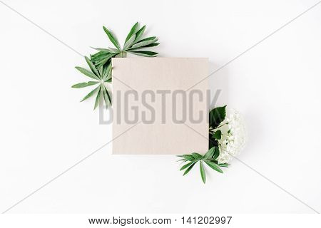 flat lay frame with craft box white hydrangea branches leaves and petals isolated on white background. top view