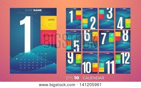 Wall Monthly Calendar for the year 2016. Vector eps10 template