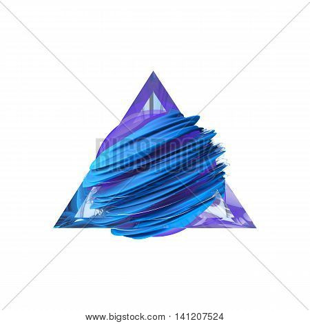 Render abstract blue field inside a glass triangle