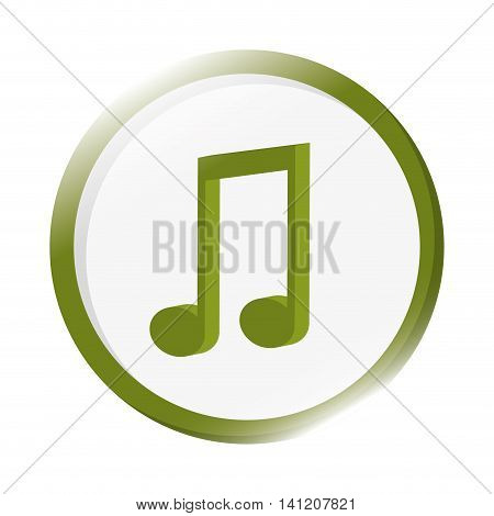 flat design quaver musical note icon vector illustration