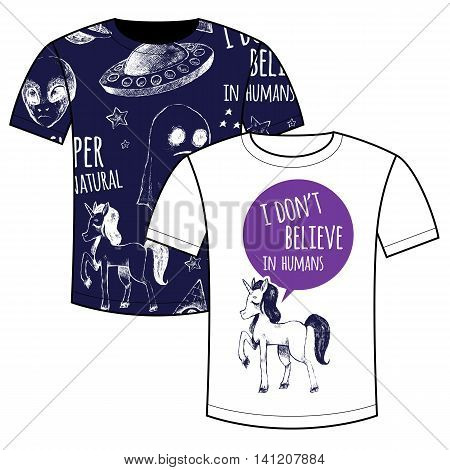 Couple T-shirts with printing. Flying saucer alien ghost unicorn Dreamcatcher crystal ball magic wand. Vector illustrations sketches doodles. Supernatural and magic. Black and white.